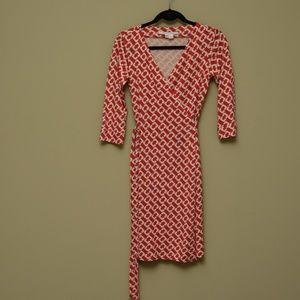 Diane von Furstenberg Red Wrap Dress - Size 6